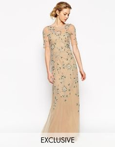 Frock and Frill 3/4 Sleeve Maxi Dress With Baroque Embellishment