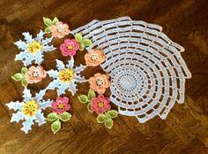 New Hand Crocheted Doily --Flower Garden--