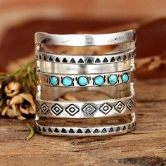 Boho Joint Ring Long Turquoise Silver Tribal Gypsy Finger Cuff Cage Ri – Made4Walkin Gypsy Rings, Feather Ring, Finger Joint, Types Of Rings, Rings Cool, Gemstone Colors, Fashion Rings, Fashion Fashion, Vintage Rings