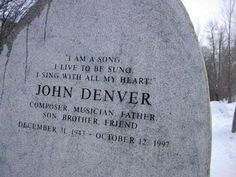 """(""""JOHN DENVER"""") At Pajaro Dunes, we looked across the bay towards Carmel and witnessed his plane crashing into the water. Cemetery Monuments, Cemetery Headstones, Old Cemeteries, Cemetery Art, Graveyards, Cemetery Statues, Angel Statues, John Denver, Famous Tombstones"""