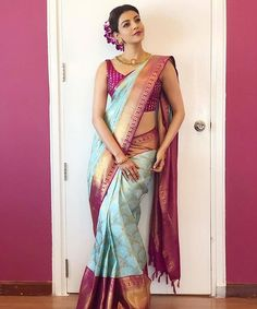 Kajal Aggarwal saree stills at Vidhatri Shopping Mall launch Kanjivaram Sarees Silk, Indian Silk Sarees, Pure Silk Sarees, Indian Beauty Saree, Kanchipuram Saree, Indian Skirt, Bridal Sarees South Indian, Bridal Silk Saree, Silk Saree Blouse Designs