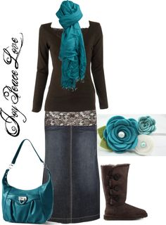 Brown, Teal & Denim