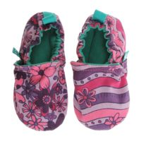 WeeChooze in Charm Purple Weechooze Baby Booties: Designed to delight tiny toes and engage little inquisitive minds, weechooze features CHOOZE's signature coordinating prints, stimulating colors, super soft microfiber lining, elasticized ankles, and non-slip soles. Available in 3 sizes: 0-6 months, 6-9 months, and 9-12 months.