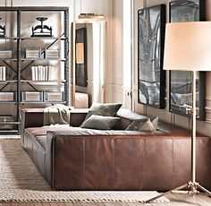Brown Leather Couch/Bed?!? What the what? Amazing!!!