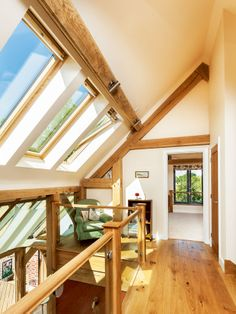 glazed balustrade and galleried landing with Velux windows Building A Basement, Building A House, Apex Roof, Oak Framed Buildings, Oak Frame House, English Cottage Style, Glazed Walls, Edwardian House, Contemporary Cottage