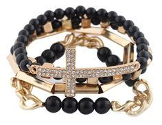 Ladies Black with Gold 4 Piece Bundle of Iced Out Cross, Link, & Bar Chain Beaded Stretch Bracelet JOTW $4.95