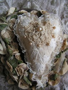 Heart with lace and pearls
