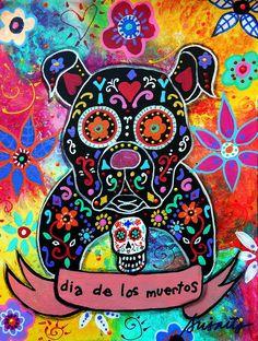 Dia De Los Muertos Bulldog by Pristine Cartera Turkus - Dia De Los ...