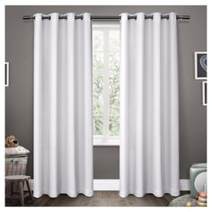 """Sateen Blackout Curtain Panel Set White (52""""x63"""") - Exclusive Home"""