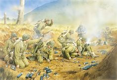 Dog Company pinned down, outskirts of Seoul, September Korean War Military Diorama, Military Art, Military History, Ww2 Pictures, Ww2 History, Us Marine Corps, Korean War, Cold War, Usmc