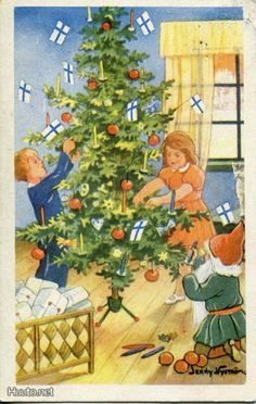 peintre illust jenny nystrom - Page 3 Old Postcards, Photo Postcards, Christmas Past, Christmas Photos, Vintage Christmas Cards, Xmas Cards, Elsa Beskow, Old Fashioned Christmas, Christmas Inspiration