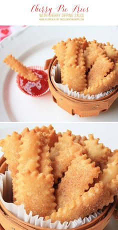 "Pie crust ""fries"" served with a side of any favorite fruit pie filling for dipping. This is such an easy recipe. Use store bought pie crust and pie filling or make your own. Cherry pie filling makes them perfect for summer picnics or Memorial Day or Fourth of July barbecues or buffets. But use apple or pumpkin pie filling for dipping and they are perfect for fall gatherings or Thanksgiving or Christmas entertaining."