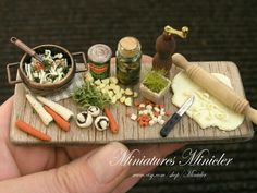 1:12 scale artisan dollhouse miniature soup prep display by Minicler