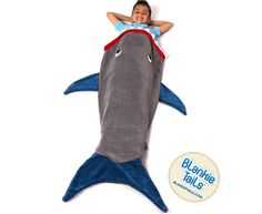 Shark Blanket by Blankie Tails - Gray and Deep Blue - Gift idea for kids Shark Tail Blanket, Mermaid Tail Blanket, Mermaid Tails, Shark Plush, Cool Mom Picks, Blue Gift, Shark Week, Minky Fabric, Best Mom