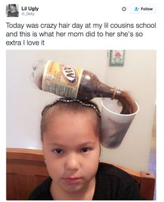 Today Was Crazy Hair Day At My Lil Cousins School. ~ Memes curates only the best funny online content. The Ultimate cure to boredom with a daily fix of haha, hehe and jaja's. Stupid Funny, Funny Cute, The Funny, Memes Br, Funny Memes, Jokes, Funny Tweets, Crazy Hair Days, Crazy Hair Day For Teachers