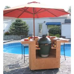 Big Green Egg Grill Island / Outdoor Kitchen - Kamado Shaped BBQ Islands - Outdoor Grill Islands - Remote Control Ignition, Fire Pits, Fireplaces, Automatic Tiki Torches, BBQ Grills, :ExteriorKitchens.com