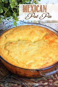 Mexican Pot Pie - This hearty dinner calls for beef, corn, black beans and a zesty tomato sauce with a spicy cheddar cornbread topping! A family-filler-upper for sure!