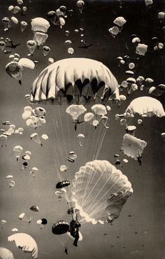 Paratroopers over Moscow, 1940's. Photo by Yakov Rumkin.