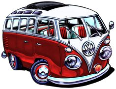 Vw bus red version by adstamper on deviantart these cars are seriously adorable Volkswagen Transporter, Volkswagen Bus, Vw Camper, Combi Hippie, Vw T1 Samba, Combi Ww, Cool Car Drawings, Vw Cars, Stickers