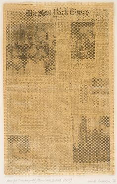 Laurie Anderson, New York Times, Horizontal/China Times, Vertical, 1976 (first conceived 1971), woven newspaper, 57.5 x 36.8 cm, framed: 83.82 x 60.33 x 5.4 cm, Los Angeles County Museum of Art, Ralph M. Parsons Fund, Laurie Anderson, Digital Image © 2009 Museum Associates / LACMA / Art Resource, NY.