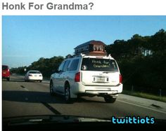 Poor grandma on the roof of the car
