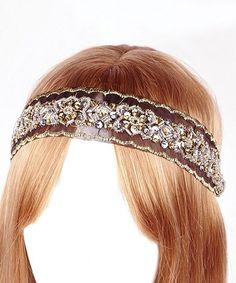 Look at this #zulilyfind! Black Geo Embroidered Organza Headband #zulilyfinds