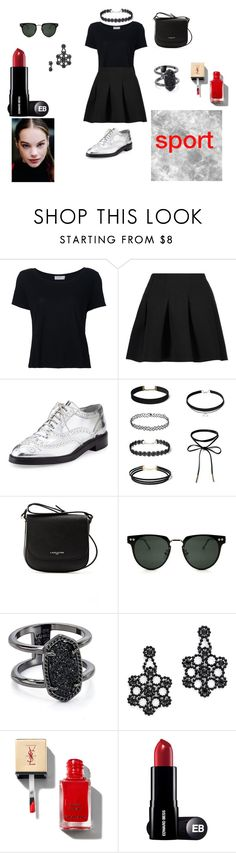"""""""crop top"""" by sarah-bery ❤ liked on Polyvore featuring Frame, T By Alexander Wang, Burberry, Lancaster, Spitfire, Kendra Scott and Kate Spade"""