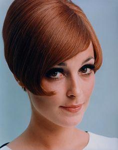 Sharon Tate in a Vidal Sassoon wig. 1966.