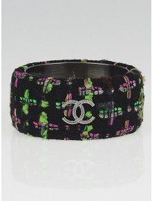 Chanel Black Tweed CC Extra Wide Bangle Bracelet, Size M