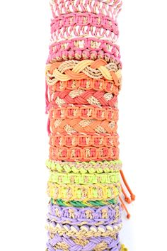 Hemp Woven Bracelet - Multi Color Description These are handmade, woven hemp bracelets. Great for all ages, these colorful bracelets are perfect for stacking and mixing with other pieces. Product sold