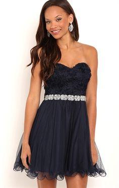 spaghetti strap 3d floral bodice dress with wire hem and rhinestone trim waist