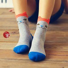 Cat-Print Socks, Black , One Size - Socka   YESSTYLE