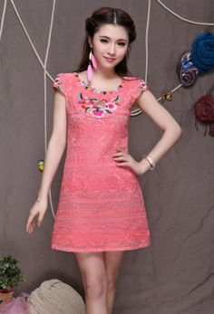 Modern Chinese Qipao Dress: Spring Lady (Pink/ White) $95.00 (71,57 €)