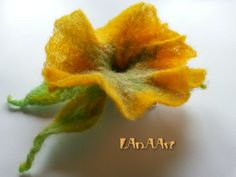 YELLOW GREEN PETUNIA felted flower brooch pin and hair clip of merino wool, handmade, delicate Spring flower adornment, original ornament by LanAArt on Etsy