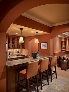 Warm terra cotta color kitchen. This is my kitchen paint color - Cavern Clay by Sherwin Williams :)