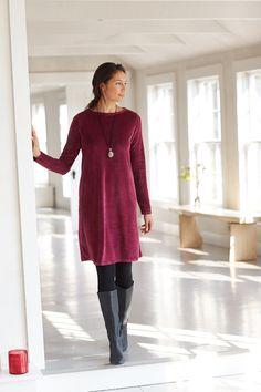 Pure Jill velour dress (in cassis).