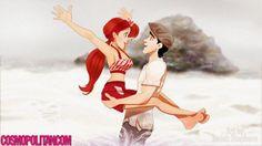 """Princesas Disney em Diário de uma Paixão - Ariel e o Principe Eric na cena """"se você é um pássaro, eu também sou um pássaro""""."""