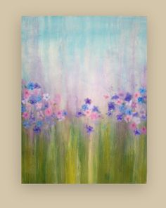 """Original Acrylic Abstract Painting on Gallery Canvas Titled: April Showers 30x40x1.5"""" by Ora Birenbaum. $365.00, via Etsy."""