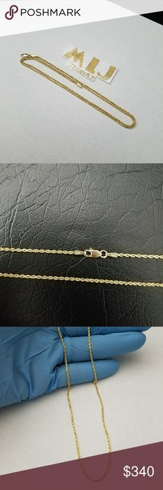 14k REAL SOLID GOLD! ! ! (Rope Chain) Beautiful 14k Solid Gold Rope Chain  Brand new, guaranteed!! Please be confident, this is 14k REAL SOLID GOLD, not gold filled or plated The picture does not justify the look and beauty of these SOLID GOLD chain. The chain is marked for authenticity 14k  Length: 22 inches  Weight: 6.0g Width: 2mm PRICE IS FIRM!! Bundle and save  11-11-R-3 Please check out my other items Jewelry Necklaces
