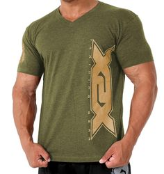 Army Green Vertical V-Neck 100% Ring Spun Cotton Classic V-Neck style in a very soft pre-laundered fabric. X2X is printed vertically on left body and right arm. Shirt is an average fit.