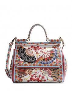 Printed Miss Sicily Leather Bag