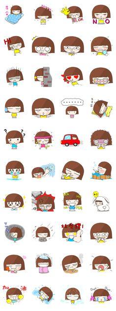 Stickers - Barna lány