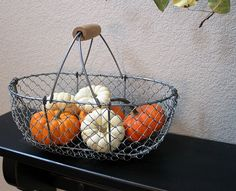 farmhouse basket of pumpkin minis