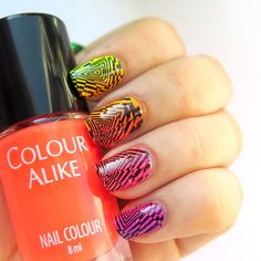Time for the neons! #31dc2016 day 10 gradient  Awesome neons from @colouralike  spark of holographic glitter ✨ and geometric stamping @b.lovesplates 'mind blow'  and I love it! Videotutorial on YT ➡️link in bio⬅️ Follow #31dc2016theCieniu