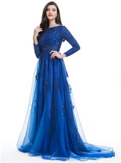 A-Line/Princess Scoop Neck Sweep Train Organza Prom Dress With Beading Sequins