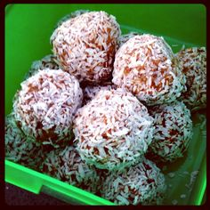 Carrot cake bliss balls.  About 3/4 c grated carrot  1 c dates (soaked in hot water for 5 mins) 1/2 c almonds 1/2 c cashews (next time I would use walnuts) 1 tbsp chia seeds 1 tbsp pumpkin seeds 1 tsp cinnamon 1/2 tsp mixed spice 1 tsp vanilla essence Process in food processor, roll into balls & roll in coconut to coat (otherwise they are too sticky).  Makes 14