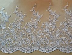 Width 19.68 inches ivory lace trimflowers embroidered by POPOLace 10$/yard