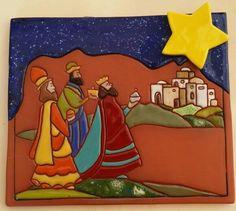 Reyes a Belén  pieza en barro por Vilma Julia Diy Christmas Crafts To Sell, Christmas Projects, Christmas Diy, Puerto Rico, Clay Figures, Epiphany, Artsy Fartsy, Mud, Bowser