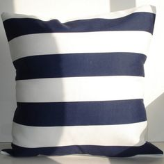 New 18x18 inch Designer Handmade Pillow Cases. Contemporary designer fabric in dark blue stripe on white.