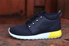 Nike Roshe Run Sneakerboot Leather - Black / Yellow / White